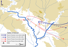 Both Heraclius and the Persians approached from the east of Nineveh. Persian reinforcements were near Mosul. After the battle, Heraclius went back east while the Persians looped back to Nineveh itself before following Heraclius again.